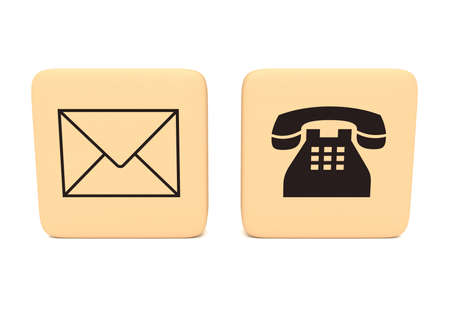 telephone icons: Letter and telephone icons on wooden pieces, 3d illustration