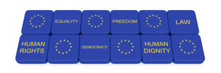 humane: Values of the European Union on pieces, 3d illustration