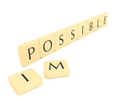 possible: Word pieces: impossible or possible, 3d illustration