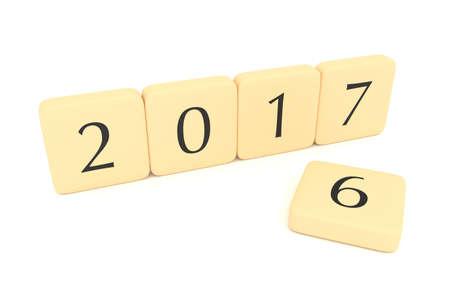 letter blocks: Letter blocks: Turn of the year, 2017, 3d illustration