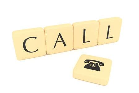 letter blocks: Letter blocks with telephone icon: Call, 3d illustration
