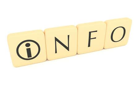 letter blocks: Letter blocks with information icon: Info, 3d illustration Stock Photo