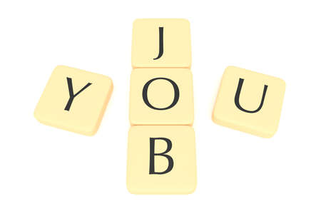 jobless: Letter tiles: a job for you, 3d illustration Stock Photo