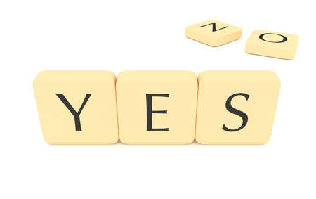 yes no: Letter tiles: yes or no, 3d illustration
