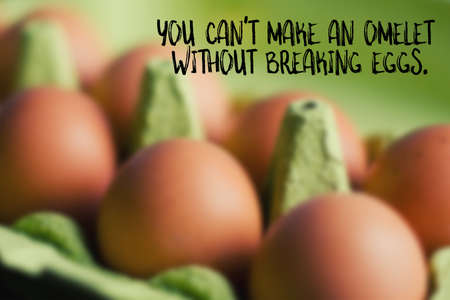 illustrates: You cant make an omelet without breaking eggs, English saying illustrated Stock Photo