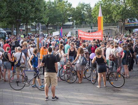 demonstrator: BERLIN, GERMANY - JULY 22, 2016: Demonstrators at the Dike March Berlin at Nollendorfplatz, Berlin