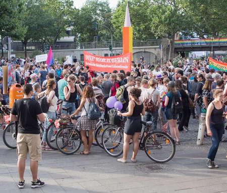 demonstrators: BERLIN, GERMANY - JULY 22, 2016: Demonstrators at the Dyke March Berlin at Nollendorfplatz, Berlin