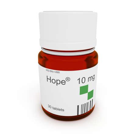 aspirational: Pill bottle: Hope, 10 mg, 3d illustration Stock Photo