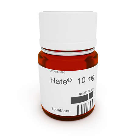 BERLIN, GERMANY - JULY 23, 2016: Pill bottle: Hate by Donald Trump, 10 mg, 3d illustration