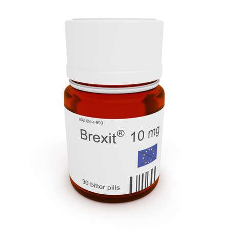 bitter: Pill bottle: Brexit, 10 mg, bitter pills, 3d illustration Stock Photo