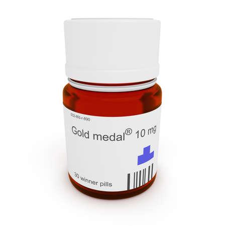 Doping: Pill bottle Gold medal, 10 mg, 3d illustration
