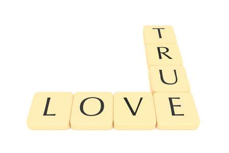 true: Letter tiles: true love, 3d illustration