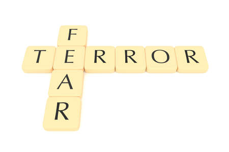 terror: Letter tiles: terror and fear, 3d illustration