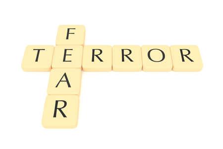 Letter tiles: terror and fear, 3d illustration