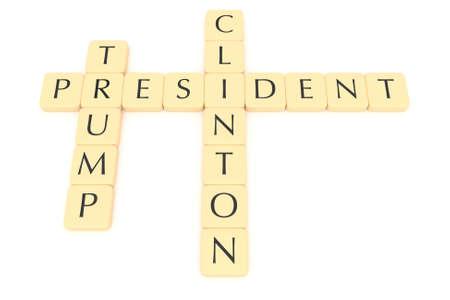 BERLIJN, DUITSLAND - JULI 26, 2016: De VS verkiezing 2016: De brief betegelt voorzitter, Clinton, troef, 3d illustratie Redactioneel