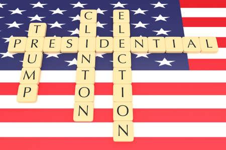 presidential election: BERLIN, GERMANY - JULY 26, 2016: US Presidential election 2016: Letter tiles clinton, trump with US flag, 3d illustration Editorial