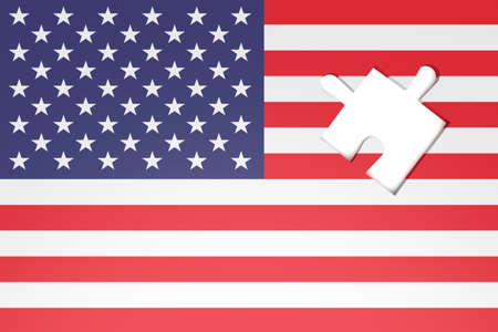 Missing Puzzle piece in US flag Stars and Stripes, 3d illustration