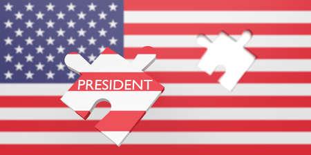 Amerikaanse verkiezingen: ontbrekende puzzelstukje president met hele Amerikaanse vlag, 3d illustratie Stockfoto