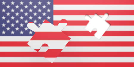 gaps: Empty missing Puzzle piece in US flag Stars and Stripes, 3d illustration Stock Photo