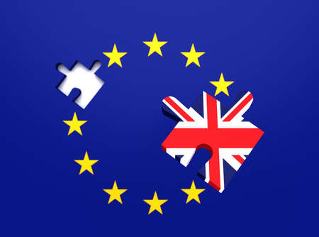 leaving: Missing puzzle piece: Great Britain leaving the EU, 3d illustration
