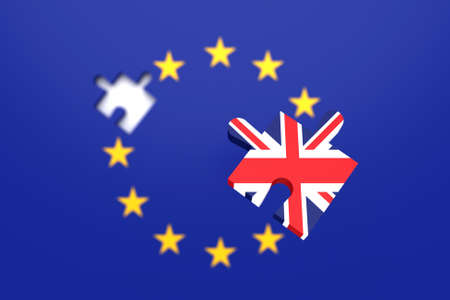 Missing puzzle piece: Great Britain leaving the EU, 3d illustration