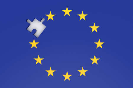 missing puzzle piece: EU crisis: missing puzzle piece in EU flag, 3d illustration