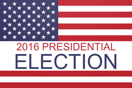 political rally: 2016 US Presidential election with Stars and Stripes, illustration