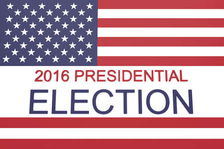 political rally: 2016 US Presidential election with Stars and Stripes, 3d illustration Stock Photo