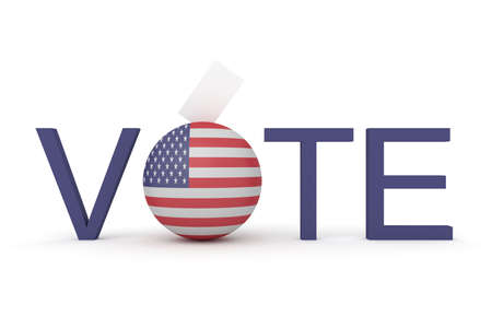 political rally: US election, vote with Stars and Stripes sphere and envelope, 3d illustration Stock Photo