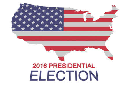 political rally: 2016 US Presidential Election: Stars and Stripes map of the USA, 3d illustration Stock Photo