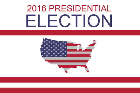 political rally: 2016 US Presidential Election: Stars and Stripes map of the USA, illustration