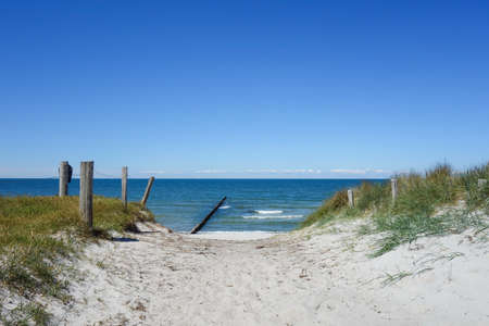 Path to the beach on a dune on Hiddensee Island, Germany Stock Photo