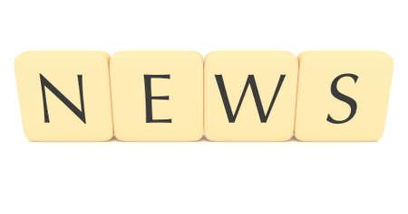 news letter: Letter tiles: news, 3d illustration on a white background
