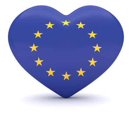 heart 3d: EU Flag Heart, 3d illustration Stock Photo
