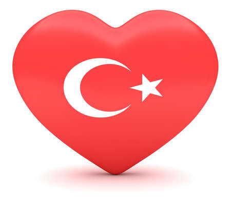 turkish flag: Love Turkey: Turkish Flag Heart, 3d illustration Stock Photo