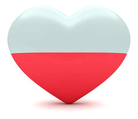 national holiday: Love Poland: Polish Flag Heart, 3d illustration