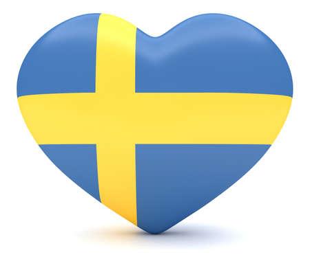 heart 3d: Love Sweden: Swedish Flag Heart, 3d illustration