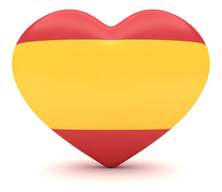 touristic: Love Spain: Spanish Flag Heart, 3d illustration Stock Photo
