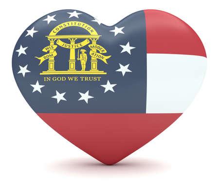 heart 3d: Love Georgia: US State Flag Heart, 3d illustration