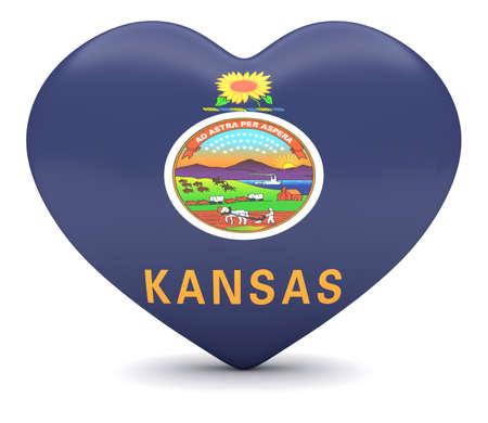 heart 3d: Love Kansas: US State Flag Heart, 3d illustration