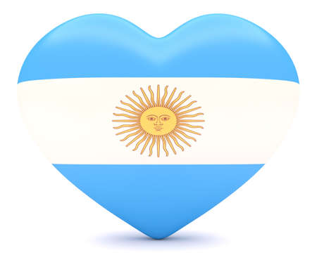 adore: Love Argentina: Argentine Flag Heart, 3d illustration Stock Photo