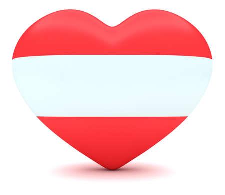 austrian: Love Austria: Austrian Flag Heart, 3d illustration
