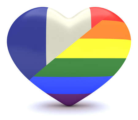 french flag: French Tricolor Flag with  Pride Rainbow Flag Heart, 3d illustration Stock Photo