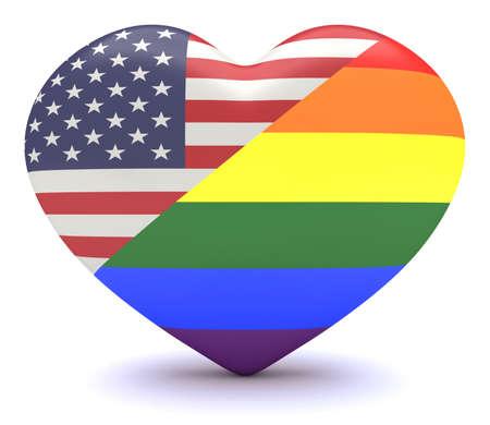 heart 3d: US flag with  Pride Rainbow Flag Heart, 3d illustration Stock Photo