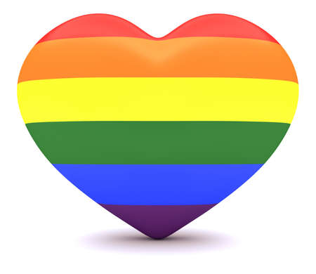bisexuality: Pride Rainbow Flag Heart, 3d illustration