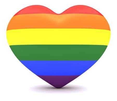 rainbow flag: Pride Rainbow Flag Heart, 3d illustration