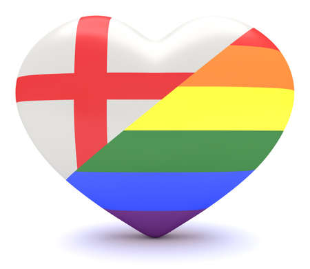 bisexuality: English Flag with  Pride Rainbow Flag Heart, 3d illustration