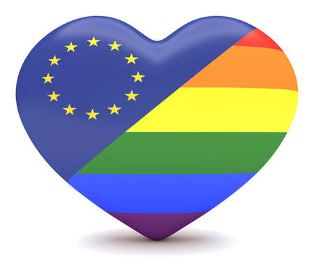 touristic: EU Flag with  Pride Rainbow Flag Heart, 3d illustration