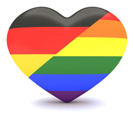 bisexuality: German Flag with Pride Rainbow Flag Heart, 3d illustration Stock Photo