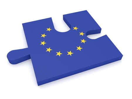 eu flag: Puzzle Piece EU Flag Missing Stars, 3d illustration